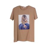 Футболка (130-160)-принт-девушка в джинсовой куртке с паетками в волосах т .бежевый 684681