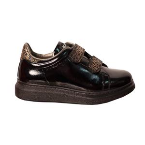 Кроссовки (27-30)-лакированные, на липучках и на пятке блестящие полосочки, на язычке логотип черный лаккожа 29155-51