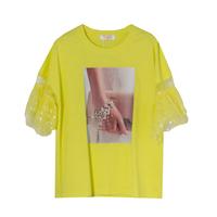 Футболка (130-160)-2-ное крылышко из сетки в горох, принт сумочка с браслетом жёлтый 684677