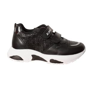 Кроссовки (27-30)-на 2-х липучках, с лактрованными вставками, на белой подошве черный кожа 20990-21