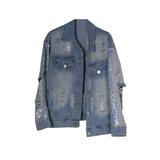 Куртка джинсовая (13-21)-рукава вышиты пайетками, с дырками спереди и сзади голубой 1 783480