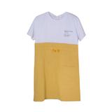 Платье (13-21)-белая футболка с юбкой на кулиске с карманами жёлтый 561916