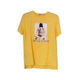 Футболка (15-23)- принт-Девушка в черной шапочке, с фотоаппаратом жёлтый 768283