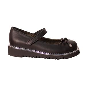 Туфли (28-30)-на липучке, с серебристой окантовкой на подошве, с бантиком черный кожа 610-13-26