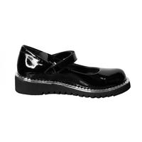 Туфли (28-30)-лакированные, на липучке, с серебристой окантовкой на подошве черный лаккожа 610-13-01