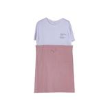 Платье (13-21)-белая футболка с юбкой на кулиске с карманами сухая роза 561916