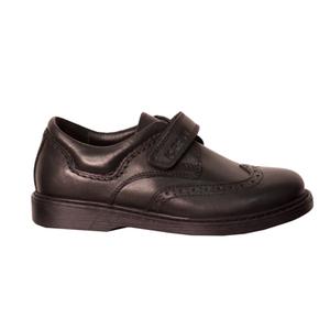 Туфли (28-30)-перфорированные, на одной липучке черный кожа 200-3650-4