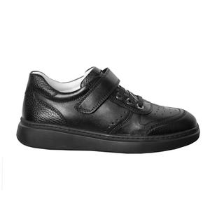 Ботинки (31-36)-на липучке и шнурке с перфорацией, на толстой подошве черный кожа 1962-612-60