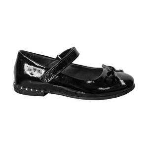 Туфли (28-30)-на липучке, лакированные, на каблучке металические вставки, с бантиком черный лаккожа 610-200-01