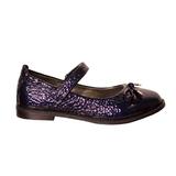 Туфли (28-30)-лакированные, на липучке, с бантиком темно-синий кожа 130-103-22