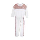 Костюм спортивный (98-130)-с розовыми велюровыми вставками и золотыми клёпками молочный 683054/683055