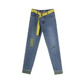 Джинсы (15-23)-вываренные, рванные, с желтым плетенным ремнем голубой 1 783598